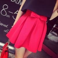 小银子2015夏装新款欧美好版型显瘦百搭蝴蝶结装饰短裙Q5161