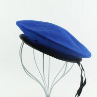 仲达厂家定做蓝色男女通用制服帽 外贸出口军迷训练帽 羊毛贝雷帽