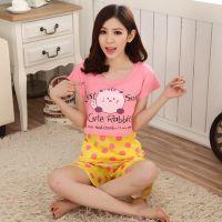 睡衣批发2014夏季新款女卡通可爱猫背心睡裙三件套一件代发N093