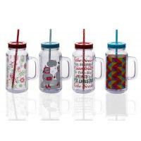 环保随身杯情侣DIY水杯可放照片双层梅森杯塑料双层广告杯子印字