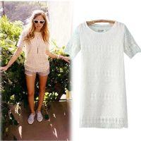 爆款2014欧洲站夏季新款蕾丝镂空短袖女式T恤 外贸原单 打底衫A11