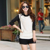 2015春装新款韩版衬衫领假两件套针织衫修身常规款套头衫毛衣女