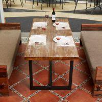 新品推荐 复古实木茶几 海德利创意铁艺沙发几 实木方形小桌子