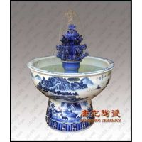 陶瓷喷水鱼缸,景德镇唐龙陶瓷喷泉,水景鱼缸流水