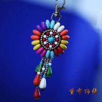 创意时尚中国民族风盘色钥匙扣包包挂件汽车钥匙扣挂件 手机挂饰