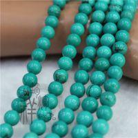 厂家直销 纯天然优化美国绿松石散珠 4-10MM圆珠DIY串珠饰配材料