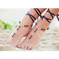 欧美外贸 EABY 速卖通热卖 百搭多色系手工丝带连指脚链F024BG112