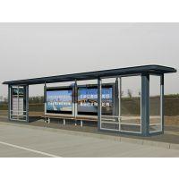 生产制作带有不锈钢顶棚和钢化玻璃挡风板,可滚动展示多幅广告海报的舒适公交站台--54
