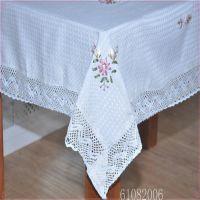 促销新款绣花桌布田园圆形台布欧式 防尘布外贸棉麻餐桌盖布