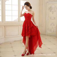 新款高档晚礼服婚庆结婚新娘伴娘礼服红色长款敬酒主持晚宴舞会服