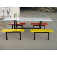 康腾特价玻璃钢餐桌椅组合 食堂四人位连体餐桌椅 加边加厚制作