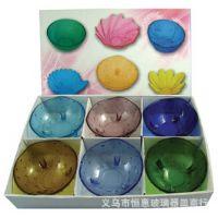厂家直供彩色玻璃果盘 厨房餐饮餐具 工艺品礼品促销。