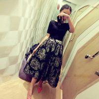 韩国东大门新款性感露肩一字领T+印花欧根纱半身裙 套装2076