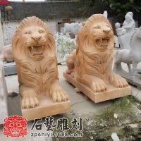 晚霞红石雕狮子爬狮雕刻大理石走狮汉白玉石雕爬狮现代狮子精雕
