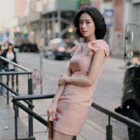 韩国东大门代购新品同蝴蝶结飞飞袖修身短袖连衣裙
