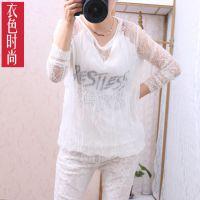 2015韩版夏装新款 大码女装蕾丝假两件长袖网纱麻料打底衫女装