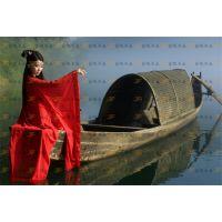 供应定制水上木船观光船仿古电动观光小木船钓鱼船玻璃钢手划游船渔船