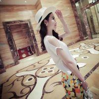 Miss jto夏装新品韩版百搭仿真丝V领露肩袖T恤女式上衣A19-61702