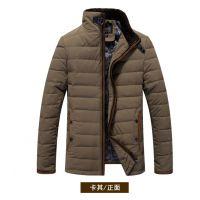 男士加厚冬装男条纹休闲修身加厚立领男士羽绒服保暖外套厂家直销