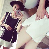小银子2015夏装新款时尚简约显瘦版型显腿长拼蕾丝插袋短裤K5213