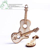 工厂直销 迷你仿真木制小吉他 复古风格微景观摆件装饰挂饰