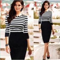 欧洲站速卖通爆款ebay欧美热卖条纹拼接束身连衣裙铅笔裙外贸原单