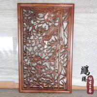 东阳木雕挂件 香樟木雕刻工艺品 横屏仿古雕花挂件 厂家定做批发