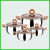 桂佳盛 14-20CM欧式木纹柄明珠锅无磁不锈钢四件套汤锅不锈钢汤锅套装