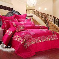 高档纯棉贡缎提花大红色结婚床品婚庆九件十件套床上用品厂家直销