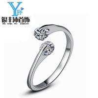 银丰沛 925银精品双钻戒指女士开口指环时尚气质戒指可调节批发