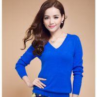 2014新款V领女式羊绒衫 短款羊绒衫 韩版羊毛衫 毛衣打底衫