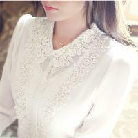 韩国官网秋季新款女装女式衬衫长袖花边大码雪纺衫刺绣镂空打底衫