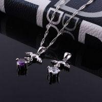 S925纯银珠宝首饰 天使之翼水钻项链吊坠 AAA高级钻石吊坠