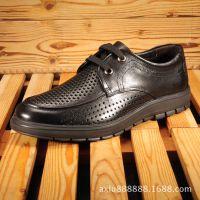 夏季新款时尚男式凉鞋 真皮休闲洞洞男鞋 品牌透气镂空皮鞋批发潮