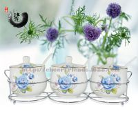 镶金蓝玫瑰调味罐 厨房用品 陶瓷调味罐三件套 配置铁架勺子彩盒