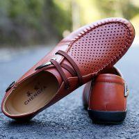 新款夏季男式透气休闲男鞋品牌男鞋商务外贸真皮男鞋洞洞鞋潮批发