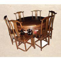 厂家批发 明清仿古全实木多功能餐桌 古典圆桌 餐厅桌椅 榆木家具
