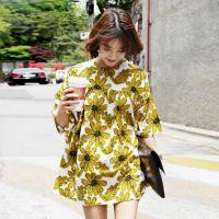 2015夏装新款女装韩版定制印花宽松大码连衣裙印花中袖厂家直销XY