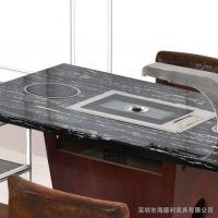 厂家定制 古典燃气火锅餐桌 德庄火锅餐厅指定桌子 方形4人位桌