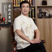 夏季男装中老年唐装短袖衬衣男士半袖衬衫中国风民族服装父亲上衣