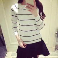 2015秋装新款一字领条纹韩版打底衫针织衫女式罩衫毛衣453