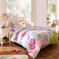 富安娜家纺床上用品全活性印染纯棉大版花婚庆公主四件套床笠款