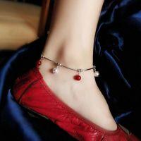 爆款热销红白珠相间串珠脚链 女生脚饰脚链现货供应J516-10