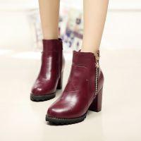 2015冬季新品帅气粗跟马丁靴防水台高跟短靴时尚温州女靴