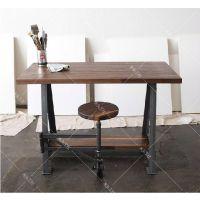 北欧工业复古铁艺实木工作电脑桌 创意可折叠桌椅组合 实木可定做