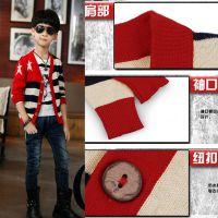 米西果同款童装  2015秋款儿童开衫 韩版纯棉男童针织外套