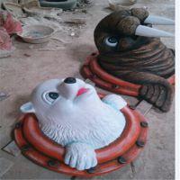 玻璃钢卡通雕塑摆件 海洋公园形象工艺品 动物雕塑 卡通动物造型
