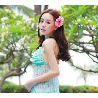 2015韩式新款 双色大非洲菊带夹 可做发夹 花环 头环 厂家直销
