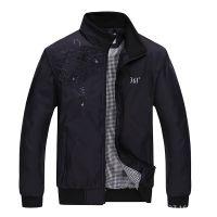 厂家直销2015春秋新款男式立领纯色时尚运动休闲夹克男装外套批发
