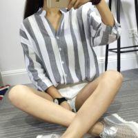 2015新品韩版撞色竖条纹棉麻七分袖立领衬衣 气质宽松女式衬衫